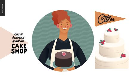 Cake shop, cakes on demand - small business graphics - about us icon -modern flat vector concept illustrations - a round badge with a shop owner holding a chocolate cake, a flag and a solemn cake  イラスト・ベクター素材