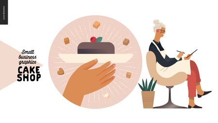 Cake shop, cakes on demand - small business graphics - blog icon -modern flat vector concept illustrations - a round badge with a slice of cake, the owner wearing apron accepting order filling in form