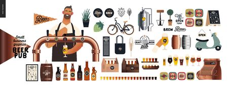 Brewery, craft beer pub -small business graphics -male visitor at the bar countera bartender-modern flat vector concept illustrations -young man pouring beer from the beer tower. Brewery elements Illusztráció