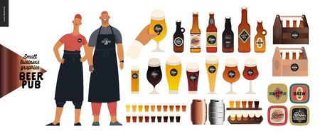 Brewery, craft beer pub -small business graphics -pub owners and brewery components -modern flat vector concept illustrations -man, woman, bartenders wearing apron. Bottles, glasses, casks, beer mats Stock Illustratie