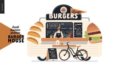 Burger house - graphiques pour petites entreprises - food truck - illustration vectorielle moderne à plat d'un camion de hamburgers street food van, vendeur, menu et panneau de trottoir - tableau noir avec menu, vélo Vecteurs