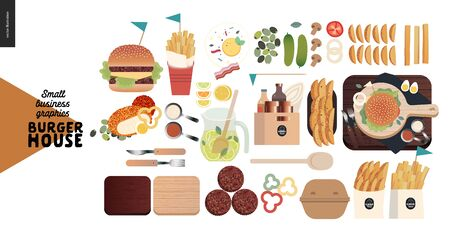 Burger house - small business graphics - menu set -modern flat vector concept illustrations - cheeseburger, French fries, lemonade, condiments, eggs, bacon, cutlery, cutting boards, take out package Ilustrace