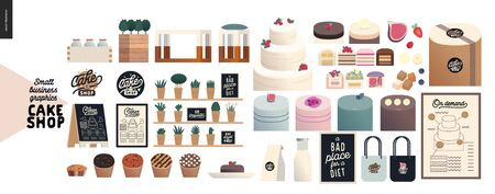 Cake shop, cakes on demand - small business graphics - cakes assortment -modern flat vector concept illustrations -a range of cakes, pastries, tarts and cupcakes, package, quote. Shop branded elements