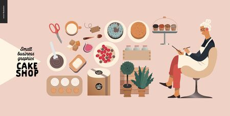 Cake shop, cakes on demand - small business graphics - baker taking order -modern flat vector concept illustrations -a seller filling in the demand form, a range of cakes and shop elements