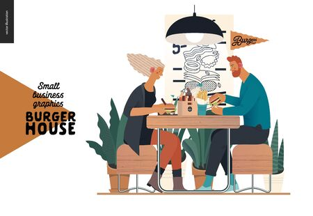 Burger house -small business graphics - visitors -modern flat vector concept illustrations -young couple eating burgers at the table in burger restaurant, interior, cheeseburger exploded view poster Vettoriali