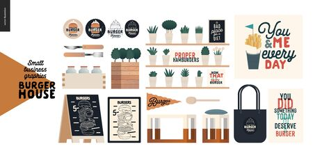 Burger house - small business graphics - shop elements -modern flat vector concept illustrations - pavement stand, logo, blackboard, branded bag, menu, table, plants, posters, cutlery,