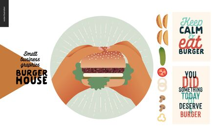 Burger house -small business graphics - blog icon and food -modern flat vector concept illustrations -web icon of two hands holding a cheeseburger, vegetables, captions posters Illustration