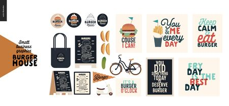 Burger house - small business graphics - shop elements -modern flat vector concept illustrations - pavement stand, logo, blackboard, branded bag, menu, table, plants, captions posters, bicycle