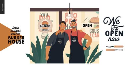 Burger house -small business graphics - owners -modern flat vector concept illustrations -two young men wearing branded aprons standing embraced in front of their restaurant, caption, cutlery Illustration
