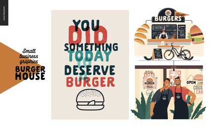 Burger house -small business graphics - set -modern flat vector concept illustrations -two young men wearing branded aprons standing embraced, caption poster, food truck