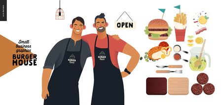 Burger house -small business graphics - owners -modern flat vector concept illustrations -two young men wearing branded aprons standing embraced, cheeseburger and some food
