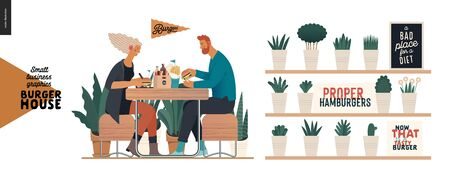 Burger house -small business graphics - visitors -modern flat vector concept illustrations -young couple eating burgers at the table in burger restaurant, interior, cheeseburger exploded view poster Illustration