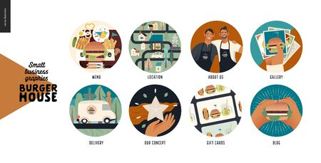 Burger house - small business graphics -modern flat vector concept illustration of website template elements -icons menu, location, about us, gallery, delivery, concept, gift cards, blog