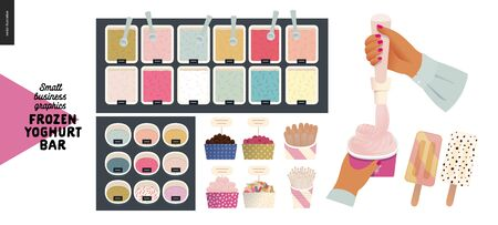 Frozen yoghurt bar - small business graphics - process and product -modern flat vector concept illustrations - frozen yoghurt and ice cream trays, topping and sprinkles, filling the paper cup in