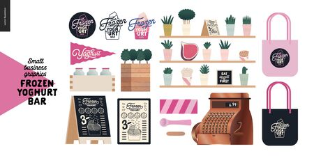 Frozen yoghurt bar - small business graphics - shop elements -modern flat vector concept illustrations - pavement stand, logo, blackboard, branded bag, menu, table, plants, posters, cash register Banque d'images - 135489954