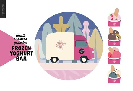 Frozen yoghurt bar - small business graphics - delivery and catering icon -modern flat vector concept illustrations - web icon - delivery van, frozen yoghurt and icecream, berries, topping, paper cups Banque d'images - 135489957