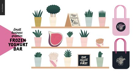 Frozen yoghurt bar - small business graphics - interior elements -modern flat vector concept illustrations - shelves with plants in pots, menu, fig, caption, branded tote bags Banque d'images - 135489963