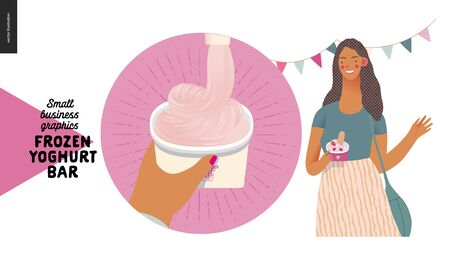 Frozen yoghurt bar - small business graphics - blog icon -modern flat vector concept illustrations - web icon, process of filling paper cup with frozen yoghurt. Young woman with youghurt, waving hand Banque d'images - 135489969