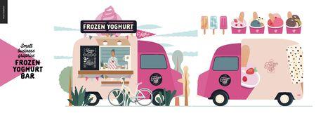 Bar à yaourt glacé - graphiques pour petites entreprises - food truck - illustration vectorielle moderne à plat d'un camion de desserts de rue, vendeur, menu, vélo. Gamme de yaourts et sucettes glacées