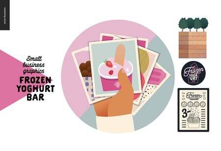 Frozen yoghurt bar - small business graphics - image gallery icon -modern flat vector concept illustrations - web icon - badge with a hand holding a stack of pictures, menu, plant, logo Banque d'images - 135489977