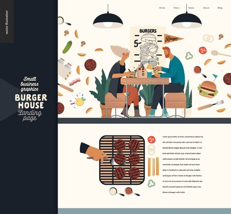 Burger house -small business graphics - landing page design template -modern flat vector concept illustrations -young couple eating burgers at the table in burger restaurant, interior, grilling Vettoriali