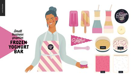 Frozen yoghurt bar - small business graphics - shop owner and range -modern flat vector concept illustrations - young woman wearing striped apron and set of ice cream, frozen yoghurt selection Banque d'images - 135489982
