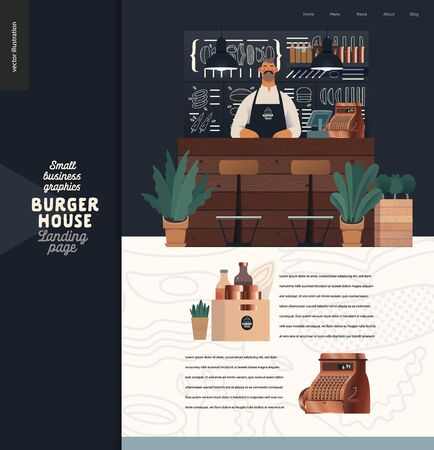 Burger house - small business graphics - landing page design template -modern flat vector concept illustrations - a waiter at the counter, interior, chalk lettering behind, cash register, condiments Illustration
