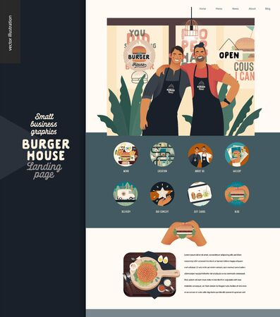 Burger house -small business graphics - landing page design template -modern flat vector concept illustrations -two young men wearing branded aprons standing embraced, icons, burger on cutting board Illustration