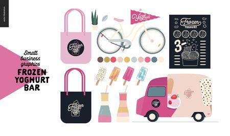 Frozen yoghurt bar - small business graphics - shop elements -modern flat vector concept illustrations - pavement stand, logo, blackboard, branded bag, menu, bicycle, food truck, delivery van, yoghurt Banque d'images - 135490256