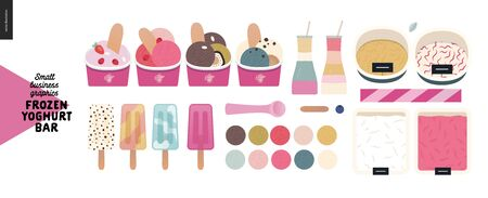 Frozen yoghurt bar -small business graphics -product range -modern flat vector concept illustrations -frozen yoghurt and ice cream trays, topping, sprinkles, posicle, paper cups, milkshakes, scoops Banque d'images - 135490264