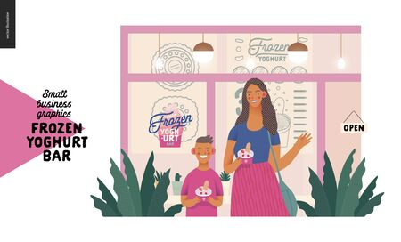 Frozen yoghurt bar - small business graphics - customers -modern flat vector concept illustrations - visitors - smiling woman waving hand and a boy holding cups of youghurt, entrance, window, facade Banque d'images - 135490265