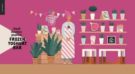 Frozen yoghurt bar - mall business graphics - shop owner -modern flat vector concept illustrations -smiling woman wearing striped apron at the counter, bar interior, shelves with plants and decoration