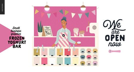 Frozen yoghurt bar - small business graphics - shop owner and range -modern flat vector concept illustrations - young woman wearing striped apron and set of ice cream, frozen yoghurt selection