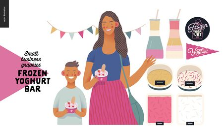Frozen yoghurt bar - small business graphics - customers -modern flat vector concept illustrations - visitors - smiling woman waving hand and a boy holding cups of youghurt, range of ice cream, flag Banque d'images - 135490271