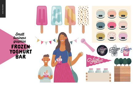 Frozen yoghurt bar - small business graphics - customers -modern flat vector concept illustrations - visitors - smiling woman waving hand and a boy holding cups of youghurt, range of ice cream, flag Banque d'images - 135490272