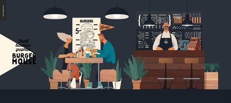 Burger house -small business graphics - visitors and bartender -modern flat vector concept illustrations -young couple eating burgers at the table in burger restaurant, interior, waiter at bar counter Illustration