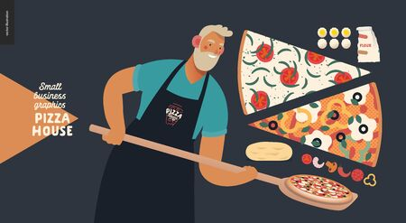 Pizza house -small business graphics -baker. Modern flat vector concept illustrations -a bearded man wearing a black branded apron with a wooden peel, putting pizza into the oven, slices, ingredients