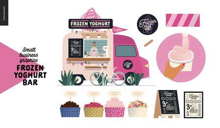 Frozen yoghurt bar - small business graphics - food truck -modern flat vector concept illustration of a dessert street food truck van, seller, menu, bicycle. Range of toppings, logo, menu, filling cup Banque d'images - 135490276