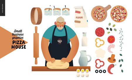 Pizza house -small business graphics -baker. Modern flat vector concept illustrations -a bearded man wearing a black branded apron kneadding the dough, ingredients, rolling pin, sieve, dough, topping