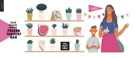 Frozen yoghurt bar - small business graphics - customers -modern flat vector concept illustrations - visitors - smiling woman waving hand and a boy holding cups of youghurt, interior decoration, flag