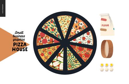 Pizza house - small business graphics - menu web icon. Modern flat vector concept illustrations - web icon menu - badge with various pizza kinds slices, flour, sieve, eggs - tools and ingredients