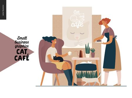 Cat cafe -small business graphics -visitor and waitress. Modern flat vector concept illustrations - young woman petting a cat at the table inside the cafe and a waitress bringing a cake. Ilustración de vector