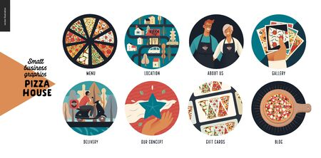 Pizza house - small business graphics - icons -modern flat vector concept illustration of website template elements -icons menu, location, about us, gallery, delivery, concept, gift cards, blog Banque d'images - 137653020