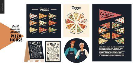 Pizza house - graphiques pour petites entreprises - affiches de pizza. Illustrations de concept vectoriel plat moderne - badge avec homme et femme, propriétaires, tablier, affiches de types de pizza, menu, tableau noir, diverses tranches