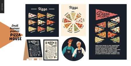 Pizza house -small business graphics - pizza posters. Modern flat vector concept illustrations -badge with man and woman, owners, wearing apron, pizza kinds posters, menu, blackboard, various slices