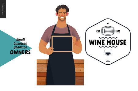 Wine house -small business owners graphics -owner with a blackboard. Modern flat vector concept illustrations - young man wearing black apron, standing at the wooden counter. Shop Ilustracja