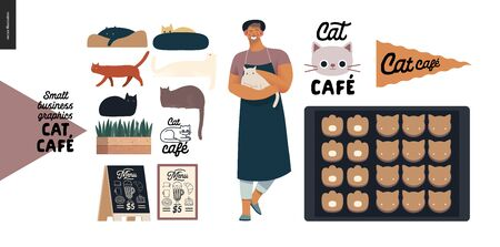 Cat cafe -small business graphics -owner, cats and cookies. Modern flat vector concept illustrations - man wearing apron petting a cat, interior decoration, cookies in cat shape 向量圖像