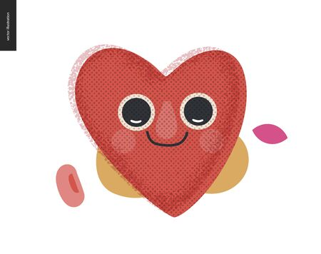 Happy heart - Valentines day graphics. Modern flat vector concept illustration - a smiling happy valentine heart, cute character in love concept