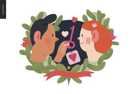My heart key -Valentines day graphics. Modern flat vector concept illustration - a young hetoresexual couple in love, man giving key, heart label. Cute characters in love concept. Floral frame, ribbon Stock Vector - 137459400