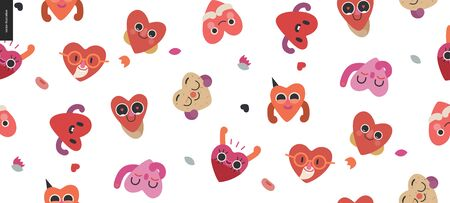 Happy hearts seamless pattern - Valentines day graphics. Modern flat vector concept illustration - a smiling happy valentine hearts, cute character in love concept